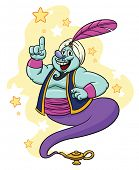 picture of genie  - Cartoon genie coming out of his lamp - JPG