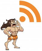 stock photo of tarzan  - Tarzan shouting RSS symbol - JPG