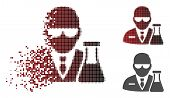 Chemical Scientist Icon In Dispersed, Dotted Halftone And Undamaged Entire Versions. Particles Are O poster