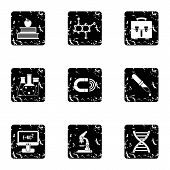Scientific Research Icons Set. Grunge Illustration Of 9 Scientific Research Icons For Web poster