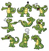 stock photo of crocodiles  - Nine cartoon crocodiles - JPG
