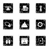 April Fool Day Icons Set. Grunge Illustration Of 9 April Fool Day Icons For Web poster