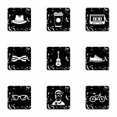 Hippie Icons Set. Grunge Illustration Of 9 Hippie Icons For Web poster
