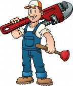 image of pipe wrench  - Cartoon plumber holding a big wrench - JPG