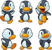 Cute cartoon baby penguins. Vector illustration with simple gradients. All in separate layers for ea