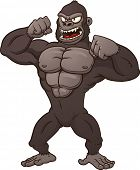 foto of gorilla  - Cartoon gorilla beating his chest - JPG