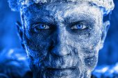 Close-up portrait of The King zombie warrior in the armor of a medieval knight covered with snow. Ha poster