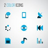 Music Icons Colored Set With Audio Mixer, Previous, Smartphone And Other Cellphone Elements. Isolate poster