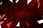 Abstract Red Geometrical Plexus Flowing Movement On Black Background With Lines And Dots poster