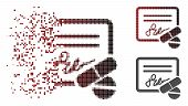 Prescription Icon In Dissolved, Pixelated Halftone And Undamaged Whole Versions. Elements Are Groupe poster