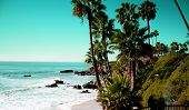 Beach Laguna Beach California Usa. Waves In The Pacific Ocean At Victoria Beach In Laguna Beach Cali poster