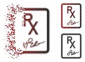 Prescription Page Icon In Dissolved, Dotted Halftone And Undamaged Whole Variants. Particles Are Com poster