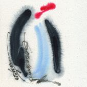 Penguin. Watercolor on the textured paper.