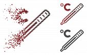 Celsius Mercury Thermometer Icon In Fractured, Pixelated Halftone And Undamaged Solid Versions. Frag poster