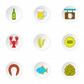 Alcoholic Beverage Icons Set. Cartoon Illustration Of 9 Alcoholic Beverage Icons For Web poster