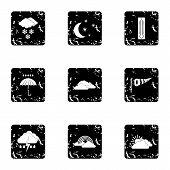 Weather Outside Icons Set. Grunge Illustration Of 9 Weather Outside Icons For Web poster