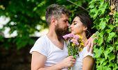Gentle Kiss. Man Bearded Hipster Hugs Gorgeous Girlfriend. Pleasant Romantic Kiss. Couple Love Roman poster