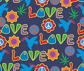 Background In The Style Of 60x. Psychedelic Seamless Pattern. Hippie, Cannabis Leaves, Flowers, A Sy poster