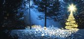 Magic Christmas Scene In The Woods With Two Snowmen And A Glowing Christmas Tree Made Of Stars. poster