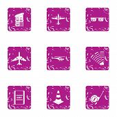 Delivery Of Material Icons Set. Grunge Set Of 9 Delivery Of Material Vector Icons For Web Isolated O poster