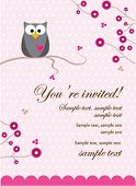 pic of owls  - Owl Baby Girl Invitation Card - JPG