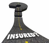 Insured Coverage Insurance Policy Covered Question Mark Road 3d Illustration poster