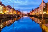 Panorama Of Nyhavn With Colorful Facades Of Old Houses And Old Ships In The Old Town Of Copenhagen,  poster