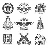 Music Labels. Microphone Big Speaker Drums And Headphones Vector Pictures And Logos For Music Record poster