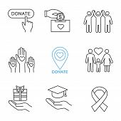 Charity Linear Icons Set. Thin Line Contour Symbols. Donate Button, Fundraising, Charity Organizatio poster