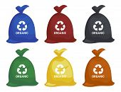 Bag With Garbage. Trash In Garbage Packages With Sorted Garbage Vector Icons. Recycling Garbage Sepa poster
