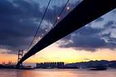 image of tsing ma bridge  - bridge at sunset moment Tsing ma bridge - JPG