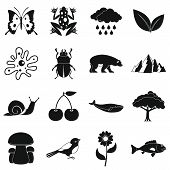 Nature Items Icons Set. Simple Illustration Of 16 Nature Items Icons For Web poster