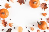 Autumn Composition. Pumpkins, Candles, Dried Leaves On White Background. Autumn, Fall, Halloween Con poster