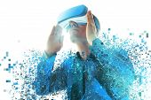 A Person In Virtual Reality Glasses Flies To Pixels. The Concept Of New Technologies And Technologie poster
