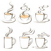 stock photo of cup coffee  - coffee cups set - JPG