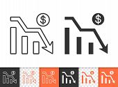 Graph Down Black Linear And Silhouette Icons. Thin Line Sign Of Bankrupt. Arrow Below Outline Pictog poster