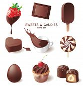 9 highly detailed chocolate icons set