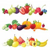 stock photo of strawberry plant  - fruits vegetables and berries vector borders - JPG