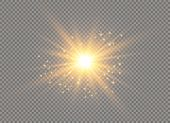 White Glowing Light Explodes On A Transparent Background. Sparkling Magical Dust Particles. Bright S poster