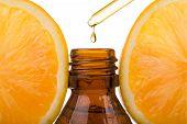 Essential Oil With Orange - Vitamin C. Natural Remedies, Drop Vitamin C - Dropper. poster