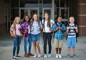 Large Group portrait of pre-adolescent school kids smiling in front of the school building. Back to  poster