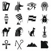 Egypt Travel Items Icons Set. Simple Illustration Of 16 Egypt Travel Items Icons For Web poster