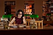 Girl With Books In The Library poster