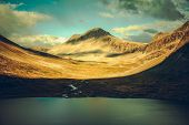 Norwegian Mountains Sunset. Scenic Scandinavian Landscape. Trollstigen Norway. poster