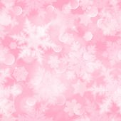 Christmas Seamless Pattern With White Blurred Snowflakes, Glare And Sparkles On Pink Background poster