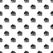Large Single-storey House Pattern. Simple Illustration Of Large Single-storey House Pattern For Web  poster