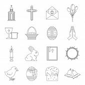 Easter Items Icons Set. Outline Illustration Of 16 Easter Items Icons For Web poster