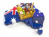 Market basket or consumer price index in Australia. Shopping basket with foods on the map of Austral poster