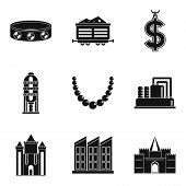 Material Wealth Icons Set. Simple Set Of 9 Material Wealth Icons For Web Isolated On White Backgroun poster