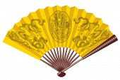 picture of woman dragon  - Ancient yellow chinese fan with dragons - JPG